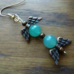 Earrings. Aventurine stone beads. Pewter wings